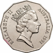 Australia Fifty Cents 25th Anniversary of decimal currency 1991 Proof KM# 139a ELIZABETH II AUSTRALIA 1991 coin obverse