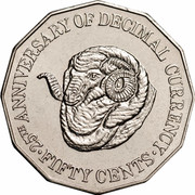 Australia Fifty Cents 25th Anniversary of decimal currency 1991 Proof KM# 139a 25TH ANNIVERSARY OF DECIMAL CURRENCY FIFTY CENTS coin reverse