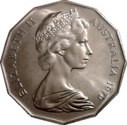 Australia Fifty Cents Australian Explorers - James Cook 1970 KM# 69 ELIZABETH II AUSTRALIA 1970 coin obverse