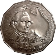 Australia Fifty Cents Australian Explorers - James Cook 1970 KM# 69 1770 *James Cook Signature* FIFTY CENTS coin reverse