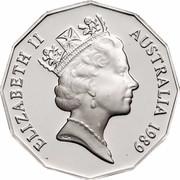 Australia Fifty Cents Captain Cook 1989 KM# 127 ELIZABETH II AUSTRALIA 1989 RDM coin obverse