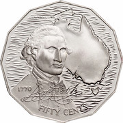 Australia Fifty Cents Captain Cook 1989 KM# 127 1770 FIFTY CENTS *JAMES COOK SIGNATURE* coin reverse