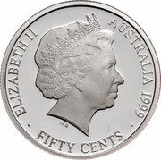 Australia Fifty Cents Coins of the 20th Century Memories - 1918 Sixpence 1999 KM# 484 ELIZABETH II AUSTRALIA 1999 FIFTY CENTS IRB coin obverse
