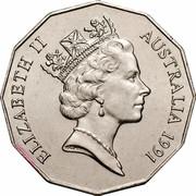 Australia Fifty Cents (Decimal Currency) KM# 139 ELIZABETH II AUSTRALIA 1991 RDM coin obverse
