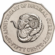 Australia Fifty Cents (Decimal Currency) KM# 139 25TH ANNIVERSARY OF DECIMAL CURRENCY FIFTY CENTS coin reverse