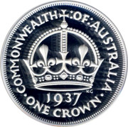Australia Fifty Cents Masterpiece - 1937 Crown 1998 Proof KM# 411 COMMONWEALTH:OF:AUSTRALIA KG 1937 ∙ ONE CROWN ∙ coin reverse
