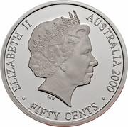 Australia Fifty Cents Masterpieces in Silver - Twentieth Century Monarchs 2000 KM# 499 ELIZABETH II AUSTRALIA 2000 FIFTY CENTS IRB coin obverse