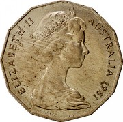 Australia Fifty Cents Wedding of Prince Charles and Lady Diana 1981 KM# 72 ELIZABETH II AUSTRALIA 1981 coin obverse