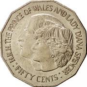 Australia Fifty Cents Wedding of Prince Charles and Lady Diana 1981 KM# 72 H.R.H. THE PRINCE OF WALES AND LADY DIANA SPENCER : FIFTY CENTS : coin reverse