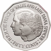 Australia Fifty Cents Wedding of Prince Charles and Lady Diana 1989 KM# 129 H.R.H. THE PRINCE OF WALES AND LADY DIANA SPENCER : FIFTY CENTS : coin reverse