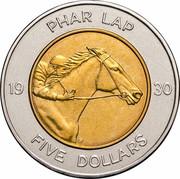 Australia Five Dollars Phar Lap 2000 KM# 478 PHAR LAP 19 30 FIVE DOLLARS coin reverse