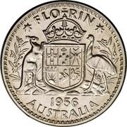 Australia Florin Coat of Arms 1956 (m) KM# 60 FLO RIN K∙G 1956 AUSTRALIA coin reverse