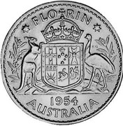 Australia Florin Elizabeth II 1954 KM# 54 *FLO RIN* K∙G 1953 AUSTRALIA coin reverse