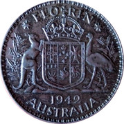 Australia Florin George VI 1942(Melbourne) KM# 40 FLORIN K∙G 1939 AUSTRALIA coin reverse