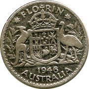 Australia Florin George VI 1946 KM# 40a FLORIN K∙G 1947 AUSTRALIA coin reverse