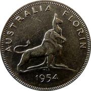 Australia Florin Royal Visit 1954 KM# 55 AUSTRALIA FLORIN 1954 coin reverse