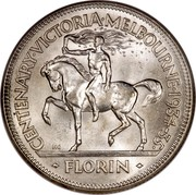 Australia Florin Victoria and Melbourne Centenary ND (1934-1935) Proof KM# 33 CENTENARY∙VICTORIA∙MELBOURNE∙1934-35∙ KG FLORIN coin reverse