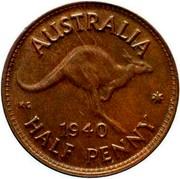 Australia Half Penny Kangaroo 1940 KM# 41 AUSTRALIA KG *YEAR* HALF PENNY coin reverse