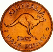 Australia Half Penny Kangaroo 1963 (p) Proof KM# 61 AUSTRALIA KG *YEAR* HALF PENNY coin reverse