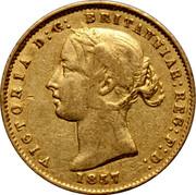 Australia Half Sovereign Victoria Sidney Mint 1857 KM# 3 VICTORIA D:G: BRITANNIAR:REG:F:D: *YEAR* coin obverse