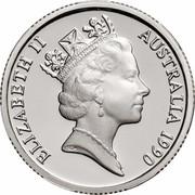 Australia One Dollar (Aboriginal Kangaroo Design) KM# 100a ELIZABETH II AUSTRALIA 1990 RDM coin obverse