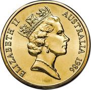 Australia One Dollar International Year of Peace 1986 Proof KM# 87 ELIZABETH II AUSTRALIA 1990 RDM coin obverse