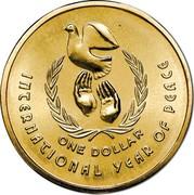 Australia One Dollar International Year of Peace 1986 Proof KM# 87 INTERNATIONAL YEAR OF PEACE ONE DOLLAR coin reverse