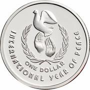 Australia One Dollar International Year of Peace 1990 KM# 87a INTERNATIONAL YEAR OF PEACE ONE DOLLAR coin reverse