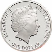 Australia One Dollar Masterpieces in Silver - 1940 shilling 1999 KM# 485 ELIZABETH II AUSTRALIA 1999 ONE DOLLAR IRB coin obverse