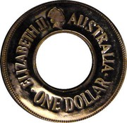 Australia One Dollar The Holey Dollar 1988 KM# 112 ELIZABETH II AUSTRALIA ONE DOLLAR coin obverse