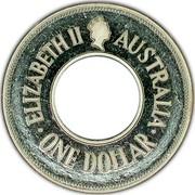 Australia One Dollar The Holey Dollar 1990 KM# 154 ELIZABETH II AUSTRALIA ONE DOLLAR coin obverse