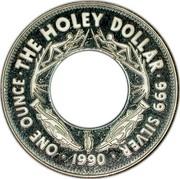Australia One Dollar The Holey Dollar 1990 KM# 154 ONE OUNCE THE HOLEY DOLLAR 999 SILVER 1990 coin reverse