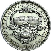 Australia One Florin Opening of Parliament House 1927 Proof KM# 31 PARLIAMENT∙HOUSE∙AUSTRALIA 1927 ∙ONE∙FLORIN∙ coin reverse