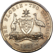 Australia One Florin - Two Shillings Florin 1911 KM# 27 ONE FLORIN - TWO SHILLINGS ADVANCE AUSTRALIA 1917 M coin reverse