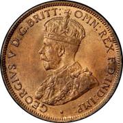 Australia One Half Penny George V 1911 L KM# 22 GEORGIVS V D.G.BRITT: OMN:REX F.D.IND:IMP: / GEORGE V KING EMPEROR coin obverse