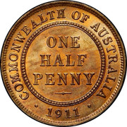 Australia One Half Penny George V 1911 L KM# 22 COMMONWEALTH OF AUSTRALIA ONE HALF PENNY *YEAR* coin reverse