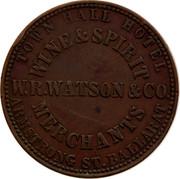 Australia One Penny 1862 KM# Tn266.2 Private Token issues TOWN HALL HOTEL WINE&SPIRIT MERCHANTS ARMSTRONG ST.BALLARAT W.N.WATSON&CO. coin obverse