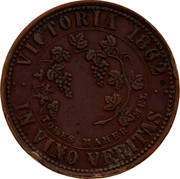 Australia One Penny 1862 KM# Tn266.2 Private Token issues VICTORIA. 1862 IN VINO VERITAS STOKES MAKER MEL. coin reverse