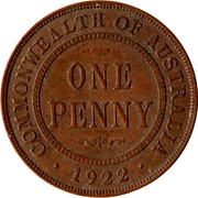 Australia One Penny George V 1922(m & p) KM# 23 COMMONWEALTH OF AUSTRALIA ONE PENNY *YEAR* coin reverse