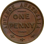 Australia One Penny ND KM# Tn282.2 Unnamed Token Issues ADVANCE AUSTRALIA ONE PENNY coin obverse