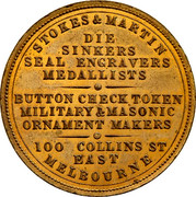 Australia One Penny ND KM# Tn238 Private Token issues STOKES & MARTIN DIE SINKERS SEAL ENGRAVERS MEDALLISTS BUTTON CHECK TOKEN MILITARY&MASONIC ORNAMENT MAKERS 100 COLLINS ST EAST MELBOURNE coin obverse