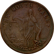 Australia One Penny ND KM# Tn284 Unnamed Token Issues NEW SOUTH WALES coin reverse