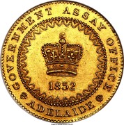 Australia One Pound Adelaide 1852 KM# 2 GOVERNMENT ASSAY OFFICE 1852 ADELAIDE coin obverse