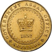 Australia One Pound Adelaide 1852 KM# 1 GOVERNMENT ASSAY OFFICE 1852 ADELAIDE coin obverse