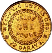 Australia One Pound Adelaide 1852 KM# 2 WEIGHT, 5 DWT: 15 GRS: VALUE ONE POUND 22 CARATS. coin reverse