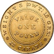Australia One Pound Adelaide 1852 KM# 1 WEIGHT, 5 DWT: 15 GRS: VALUE ONE POUND 22 CARATS. coin reverse