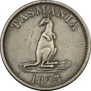 Australia One Shilling 1823 KM# Tn154 Private Token issues TASMANIA 1823 coin obverse
