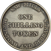 Australia One Shilling 1823 KM# Tn154 Private Token issues SAW MILLS ONE SHILLING TOKEN MACINTOSH AND DEGRAVES coin reverse