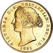 Australia One Sovereign Sovereign 1857 (sy) KM# 4 VICTORIA D: G: BRITANNIAR: REG: F: D: 1865 coin obverse