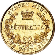 Australia One Sovereign Sovereign 1857 (sy) KM# 4 SYDNEY MINT AUSTRALIA ONE SOVEREIGN coin reverse